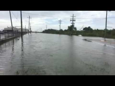 Flooding on Chef Menteur near the Venetian Isles in New Orleans East