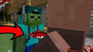 MARK MY FRIENDLY ZOMBIE GETS STABBED BY AN ANGRY VILLAGER MOD!! STEALING EMERALDS!! Minecr ...