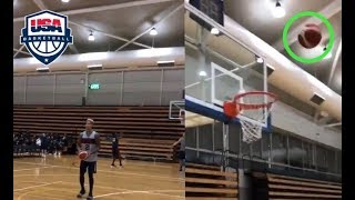 KYLE KUZMA BOUNCES IN TRICK SHOT!! USA BASKETBALL 2019!