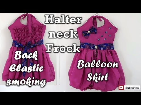 Halter Neck Frock With Back Elastic Smoking and Balloon Skirt