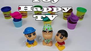 PlayDoh Fish Mold and Cupcake with Egg Doll Crayon Shin Chan