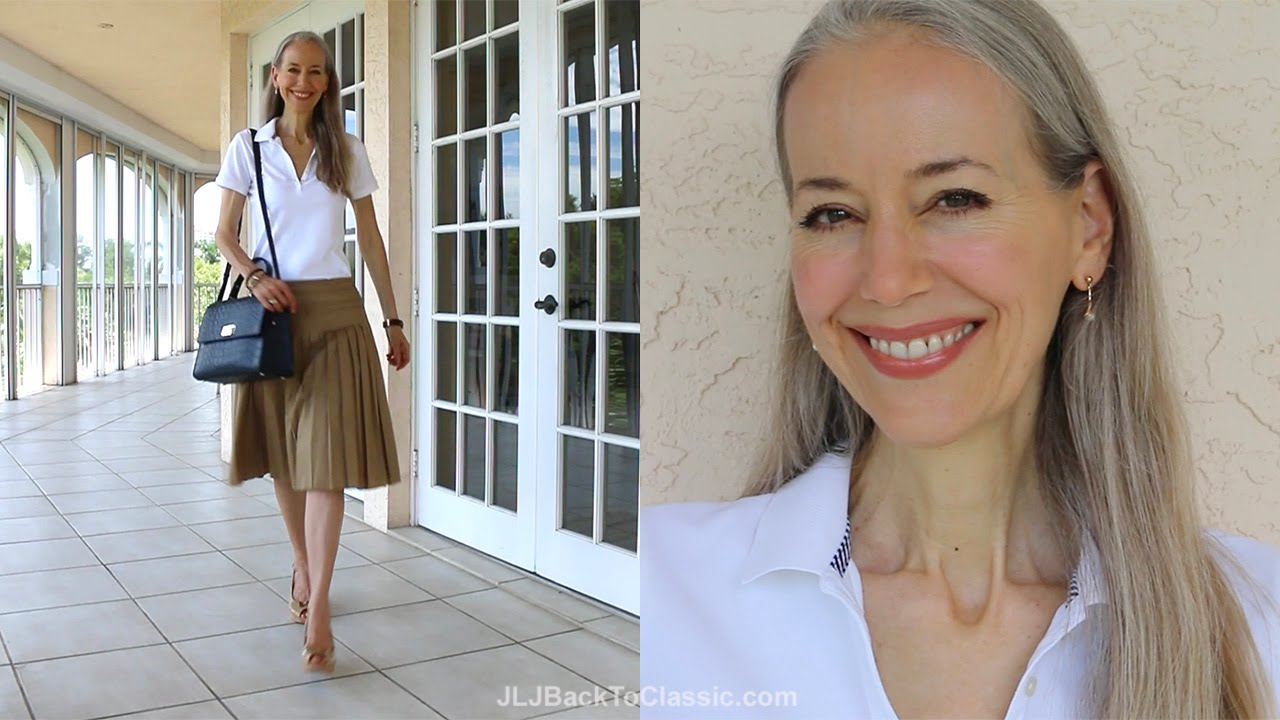 Classic Fashion Style Over 40 50 Preppy Polo Shirt Tan Pleated Skirt And A Navy Top Handle