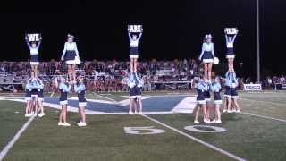 High school cheerleaders at halftime at the football game
