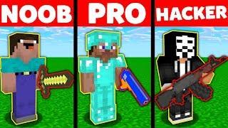 Minecraft NOOB vs PRO vs HACKER : SUPER GUNS Challenge in Minecraft Animation