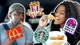 Letting the person in front of us decide what we eat for  24 HOURS!!! Drive Thru challenge!