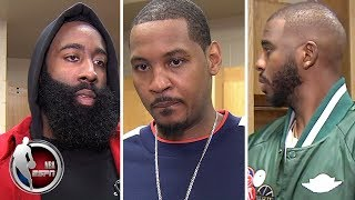 Carmelo Anthony, James Harden and Chris Paul
