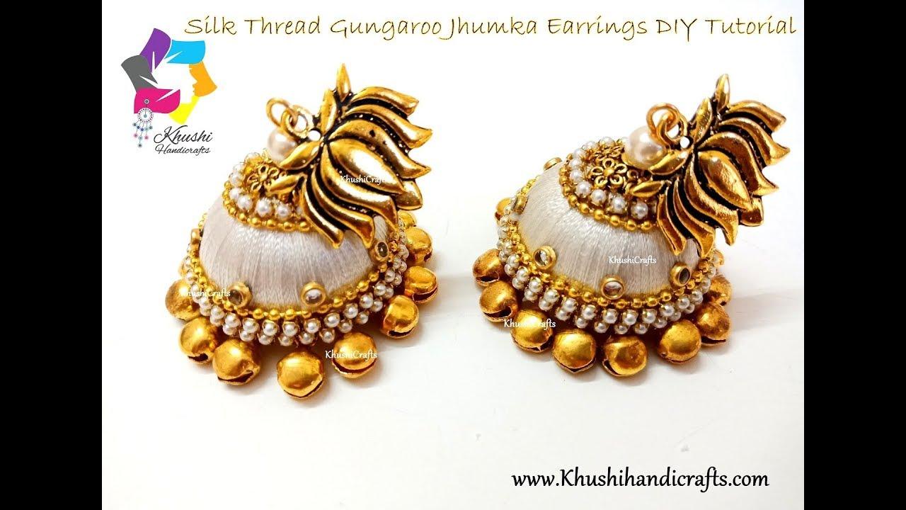 How To Make Designer Silk Thread Jhumkas At Home Fancy Thread
