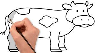 How to Drawing and Coloring a Cow | Kids Coloring Page
