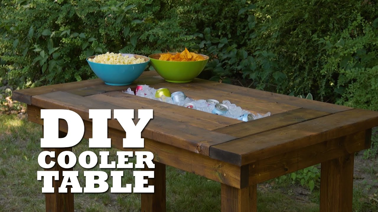 Diy table troff cooler youtube Picnic table with cooler plans