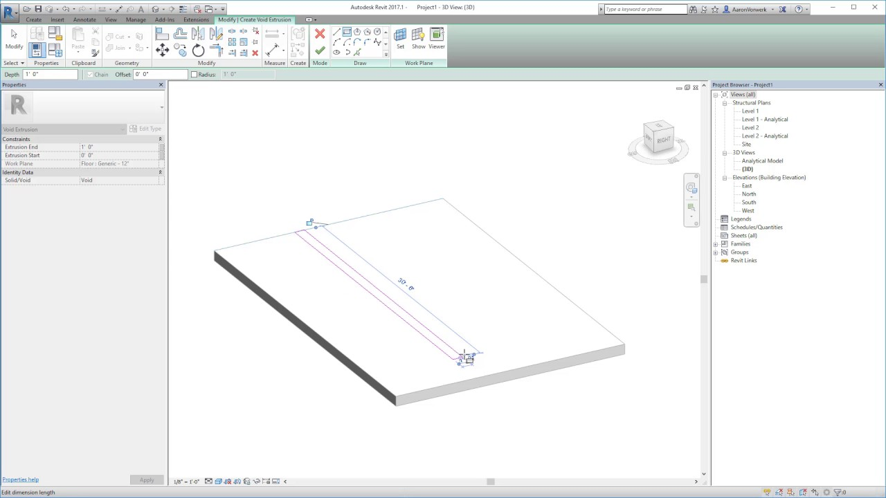 Modeling A Trench Through A Slab In Revit 2017 Youtube