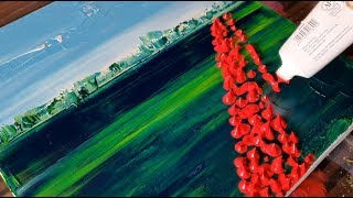 Flower Field / Very Easy Way to Paint / Abstract Painting Demonstration / Daily Art Therapy/Day #03 thumbnail