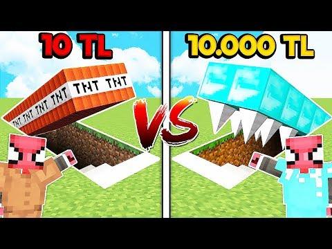 10 TL FAKİR TNT TUZAK VS 10.000 TL ZENGİN KAKTÜS TUZAK! 😱 - Minecraft