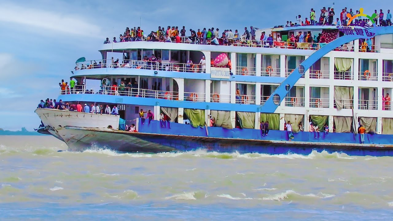 Luxurious vola_launch MV Crystal_Cruise crossing chandpur mohona with many Passengers Cruise Ship BD