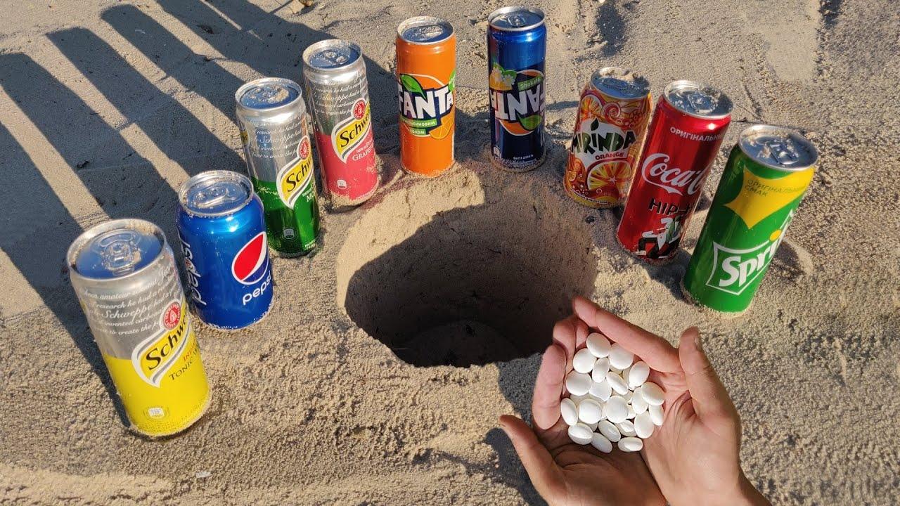 Experiment: Coca Cola, Schweppes, Mirinda, Fanta, Sprite and Other Sodas vs Mentos Underground