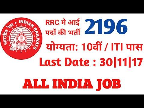 RRC MUMBAI में आई हैं बम्पर भर्ती | RRC Recruitment 2017 | 2196 Apprentice posts | Apply Now
