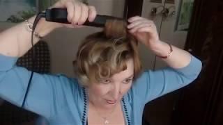 Как сделать красивую укладку волос утюжком .
