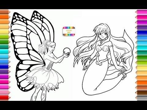 Coloring Fairy & Mermaid, Colorear hada y sirena, for kids, para ...