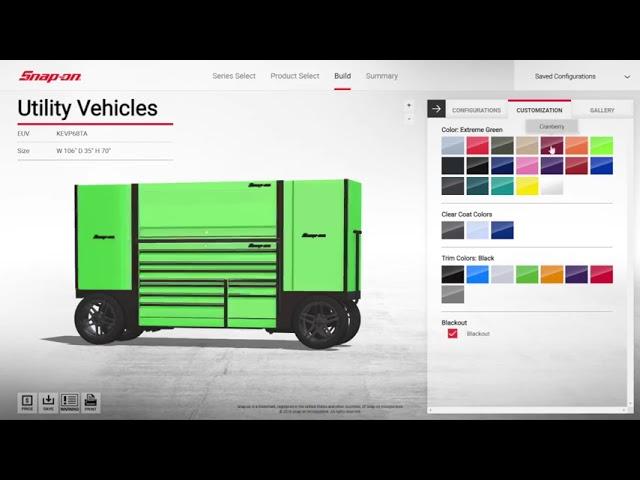 Snap-on Tools toolbox configurator