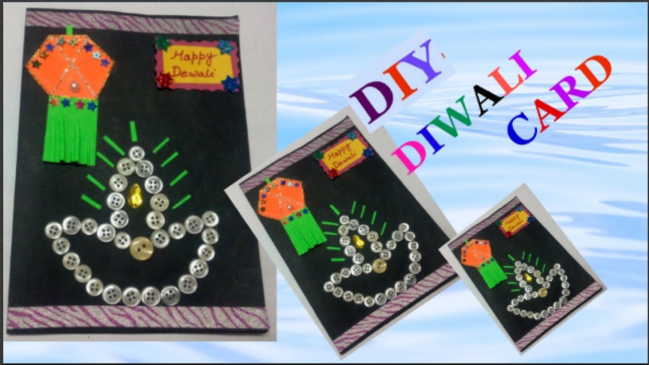 Easy Card Making Ideas For Kids Part - 28: Easy Diwali Card Making Idea For Kids |DIY- Diwali Card Making-how To Make  Diwali Cards Step By Step
