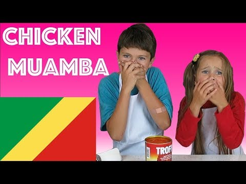 American Kids try food from Republic of Congo | Chicken Muamba
