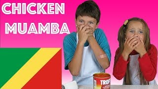 American Kids try food from Republic of Congo  Chicken Muamba