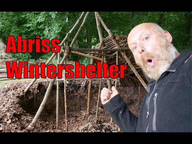 Abriss Wintershelter im Outdoorcamp Berga