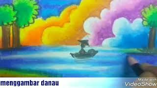 Gambar cover Cara menggambar dan mewarnai langit dan danau dengan crayon gradasi seperti juara lukis