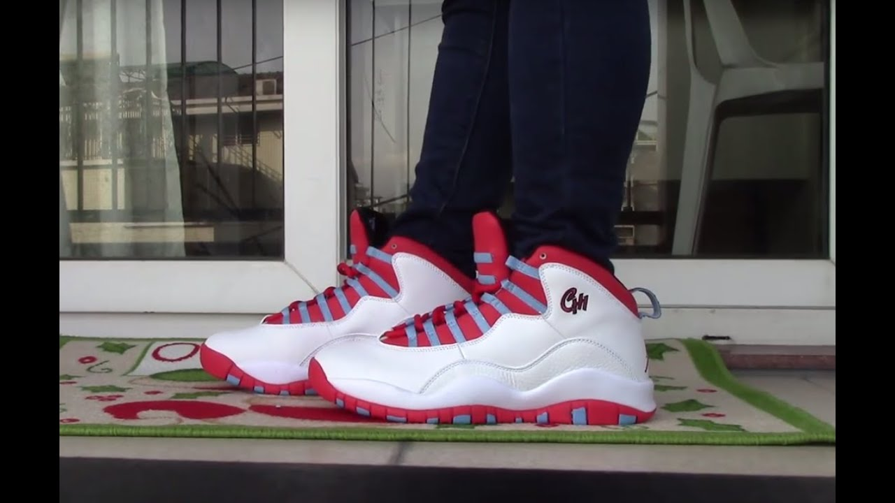 38bd9069f679 Air Jordan 10 Chicago Flag ON FOOT - YouTube