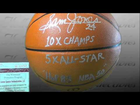 Sam Jones - Boston Celtics - Autographed Basketball with Inscriptions