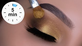 5 MINUTE Easy Golden Eye Makeup | Beginner Friendly Holiday Look