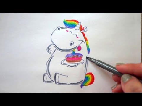 Einhorn Zeichnen Happy Birthday Drawing How To Draw Unicorn