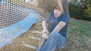 Rowan gets stuck in the trampoline net!