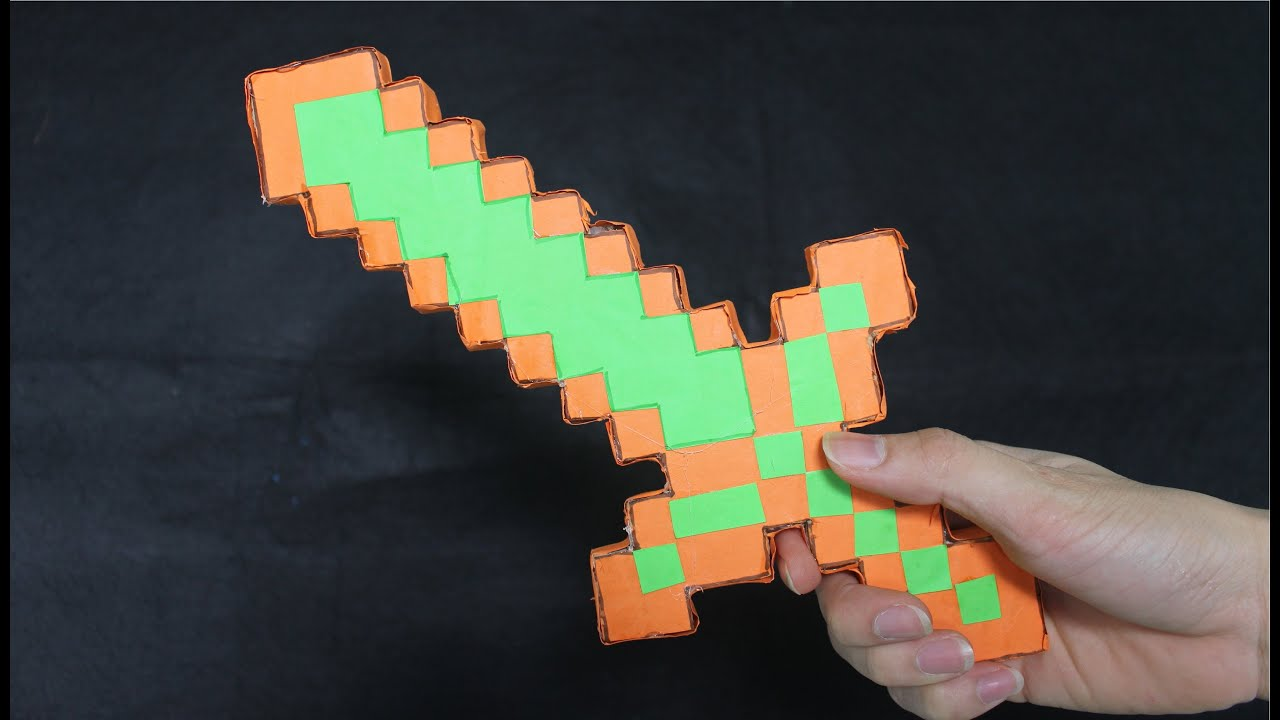 Como Hacer Una Espada Minecraft Espada De Diamantes De Papel