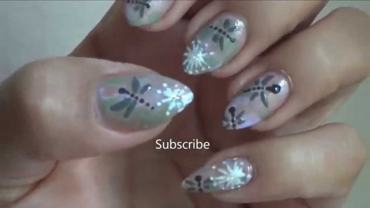 dragonfly nail art inspired