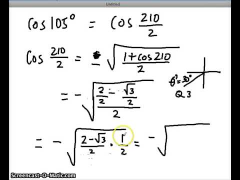 half angle formulas - YouTube