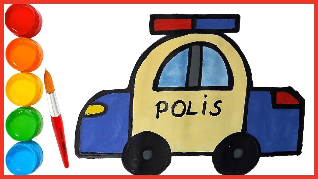 Oyuncak Polis Arabasi Cizimi Ve Boyama Ile Cocuklar Renkleri