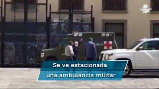 Captan a AMLO en patio de Palacio Nacional; porta cubrebocas