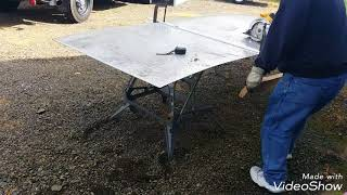 How to cut sheet aluminum diamond plate with a circular saw and a carbide tipped blade.