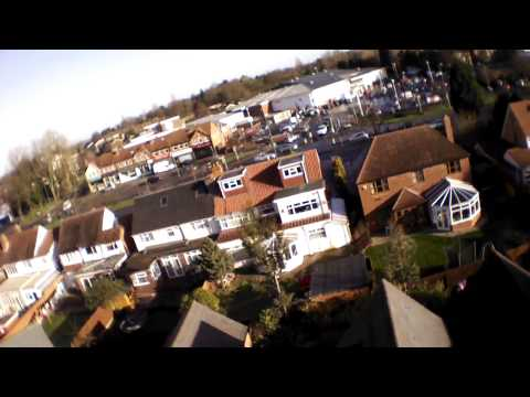 Parrot AR Drone 2.0 WiFi Modified - Flying Over Gardens Hall Green to Tesco