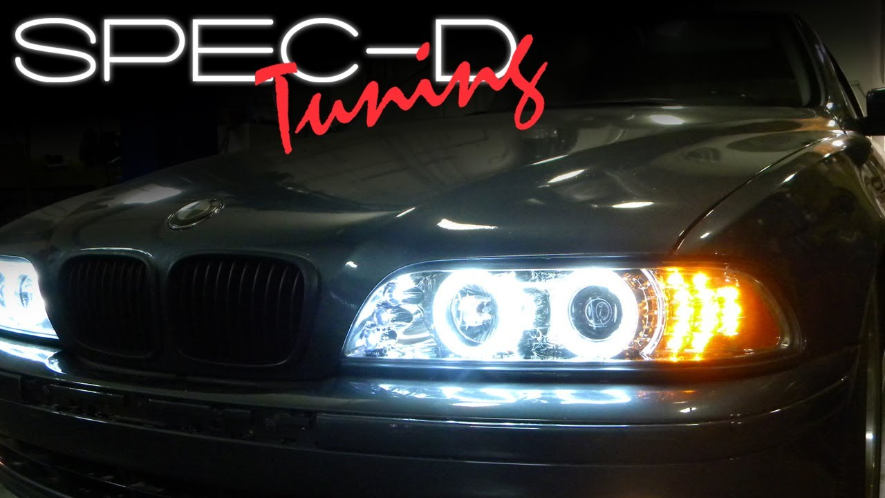 hight resolution of specdtuning installation video 1997 2003 bmw 5 series e39 projector headlights ccfl youtube