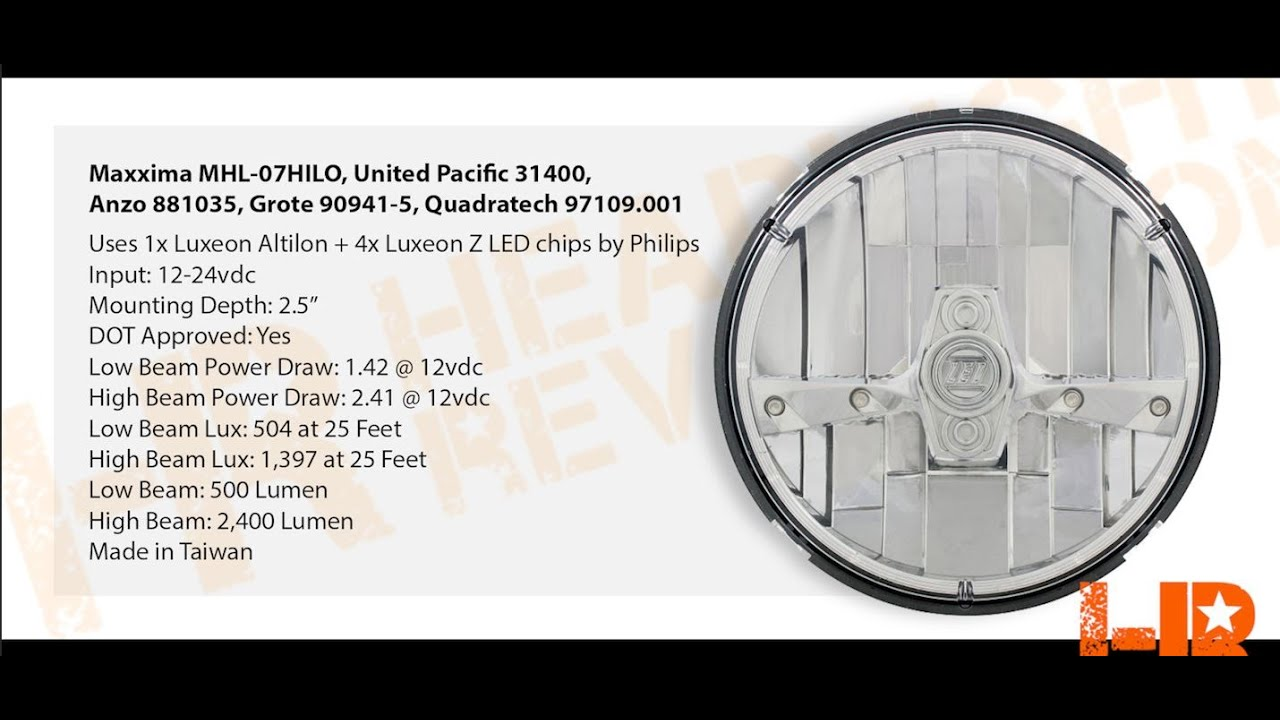 hight resolution of united pacific 31400 demo and review 7 inch round led headlights warn wiring diagram united
