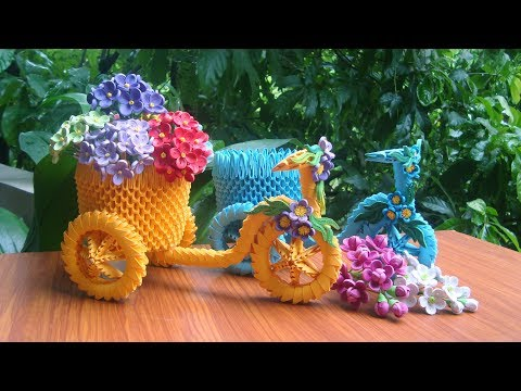 How To Make 3D Origami Tricycle Flower Basket | DIY Paper Tricycle Flower Basket