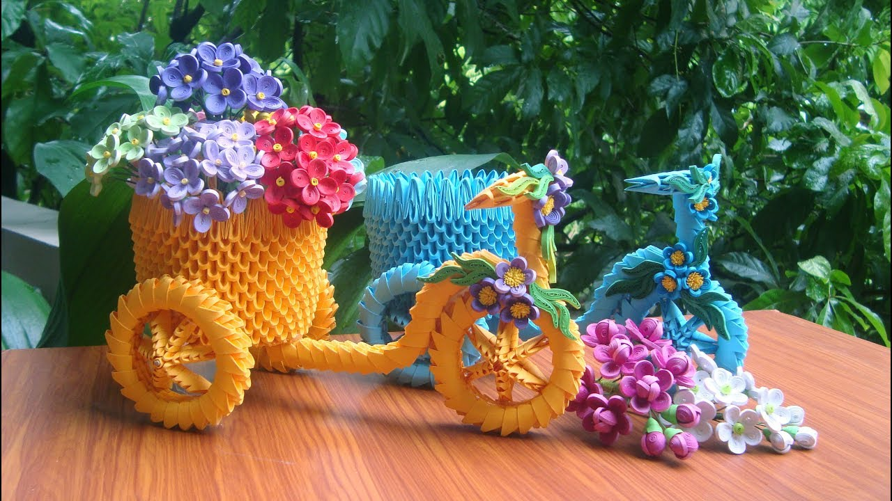 How To Make 3d Origami Tricycle Flower Basket Diy Paper Tricycle