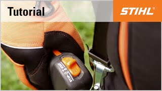 Starting and stopping a STIHL petrol long-reach hedge trimmer