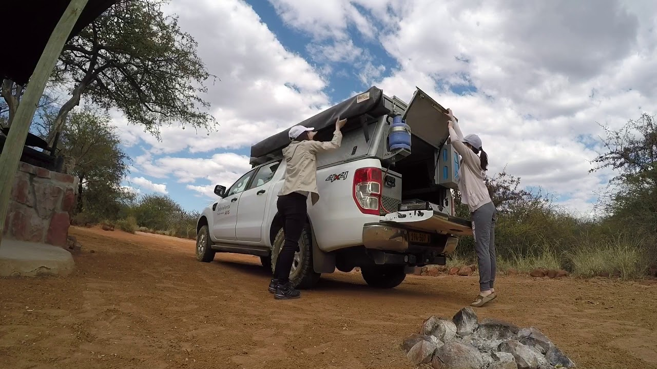 namibia safari 4x4 avis ford ranger rooftop tent youtube. Black Bedroom Furniture Sets. Home Design Ideas