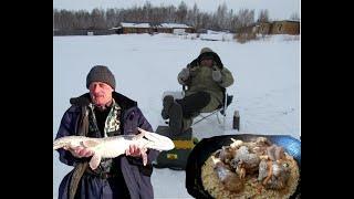 Рыбалка на озере в марте на жерлицы одна щука но какая и весенний плов в казане от ошпаза Махамаджон