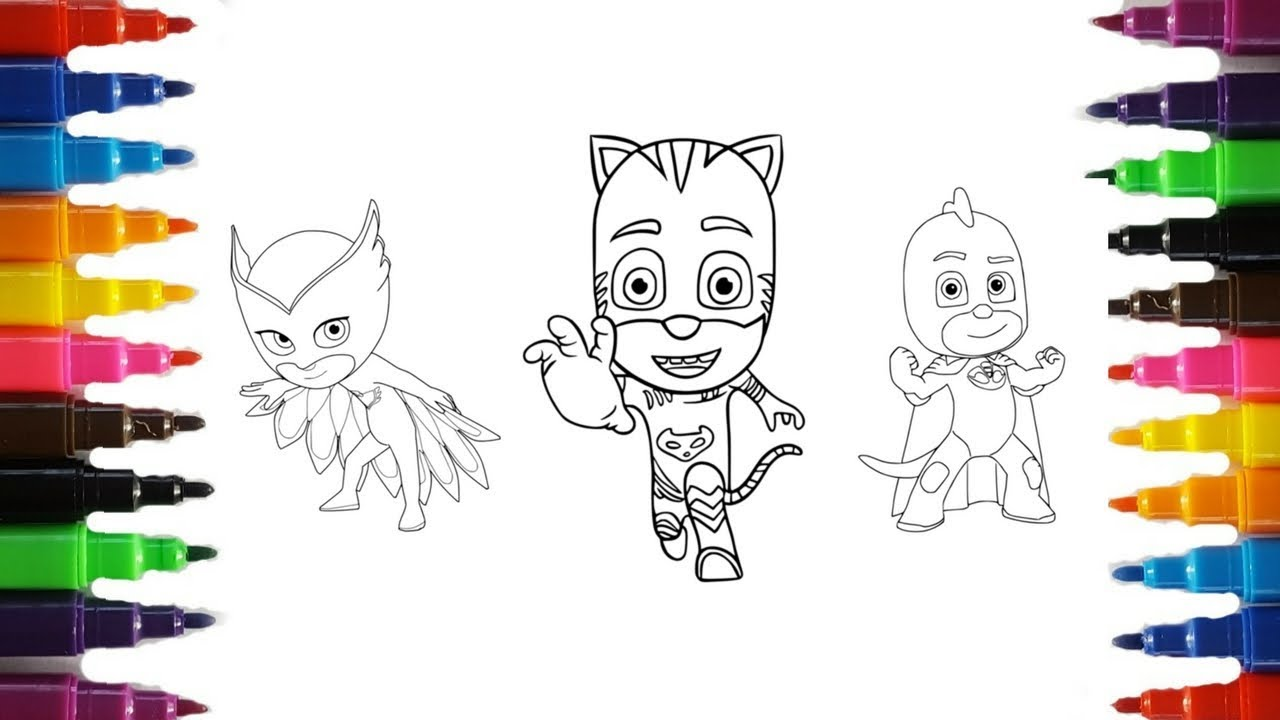 pj masks coloring pages | coloring catboy, owlette and