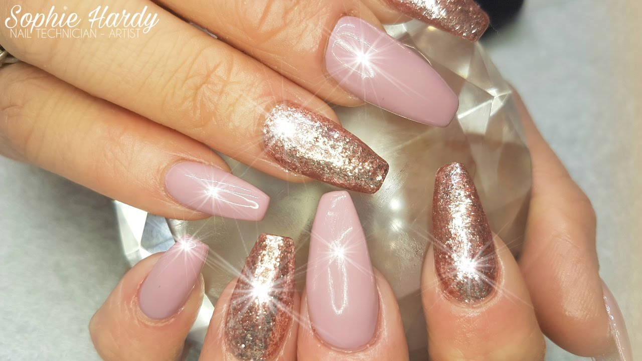 acrylic nails rose gold gel foil & dusky pink gel polish - youtube