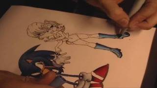 Sonic the Hedgehog and Sally Acorn Copic Marker Coloring 1/2
