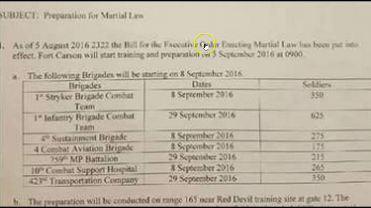 Is The Army Preparing For Martial Law Take A Look At This Document - Law documents